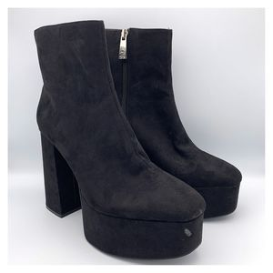 NWT Zara Black Platform Block Heel Ankle Boots